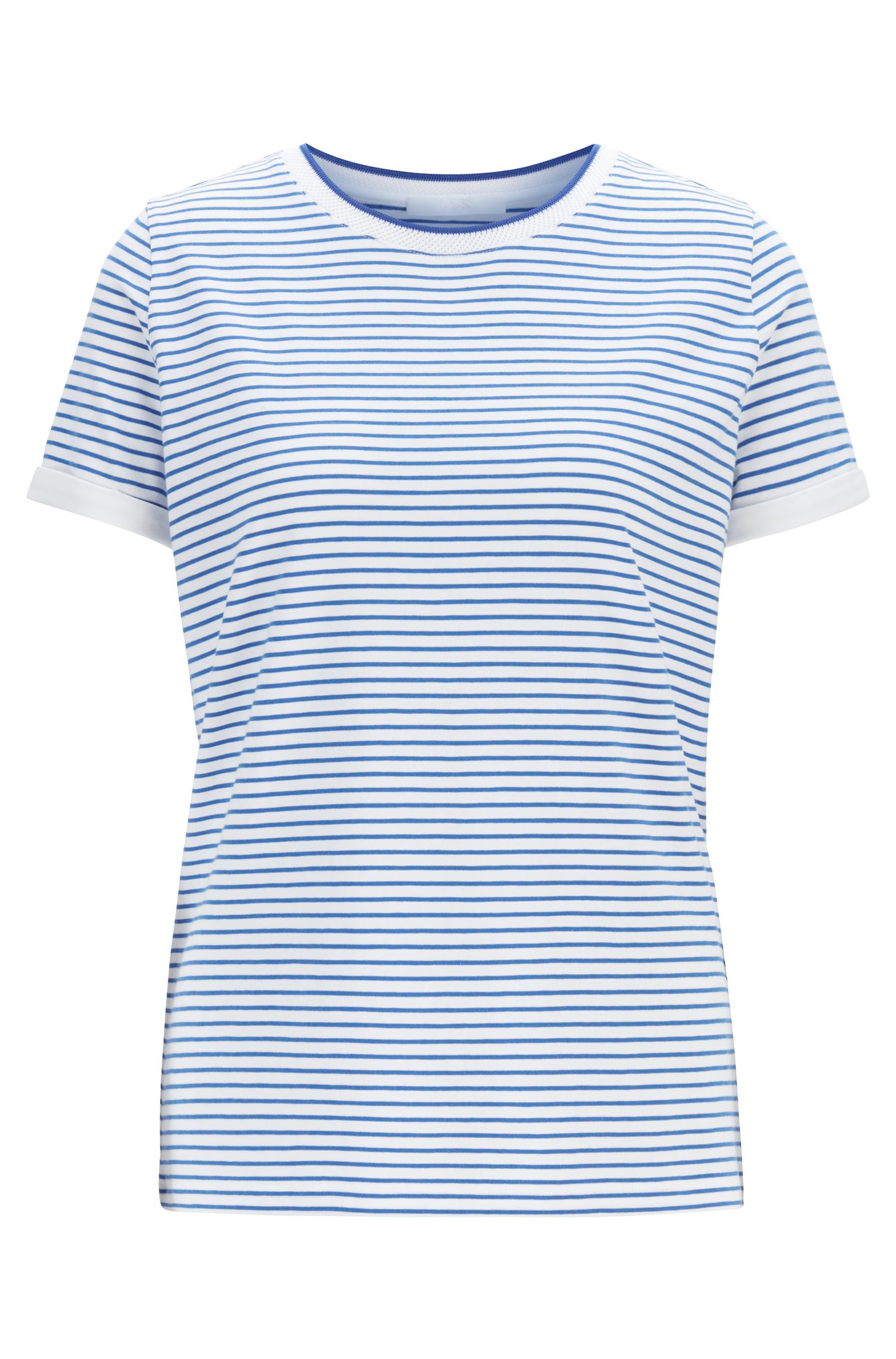 Striped T-shirt in stretch fabric with mesh neckline, Patterned