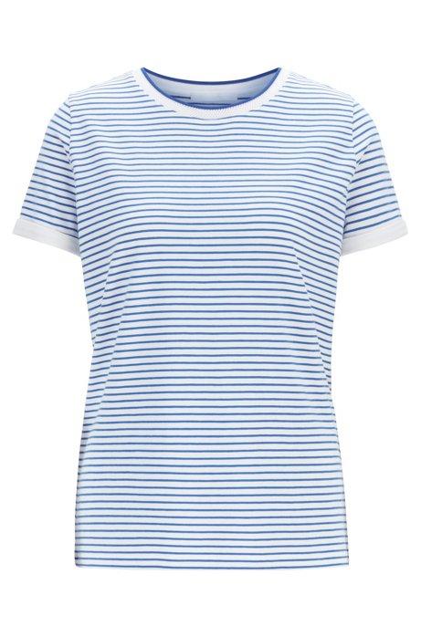 T-shirt a righe in tessuto elasticizzato con scollatura a rete, A disegni