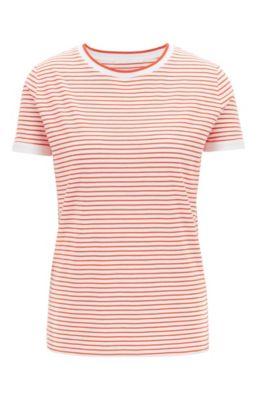 Gestreiftes T-Shirt aus Stretch-Gewebe mit Mesh-Ausschnitt, Orange