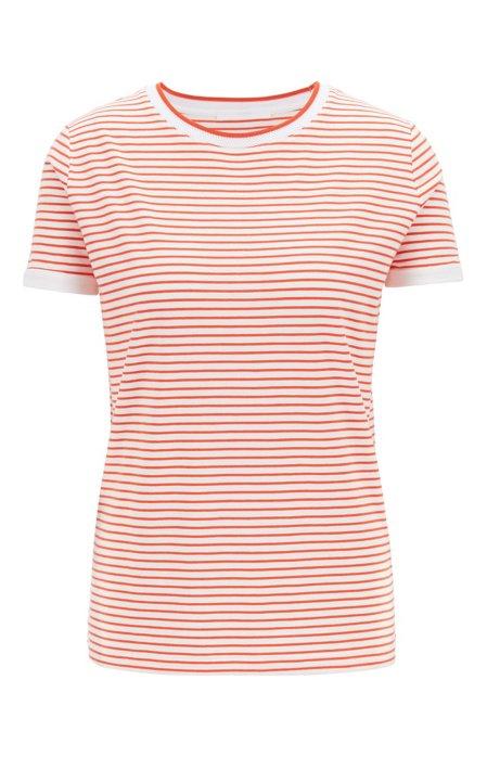 Striped T-shirt in stretch fabric with mesh neckline, Orange