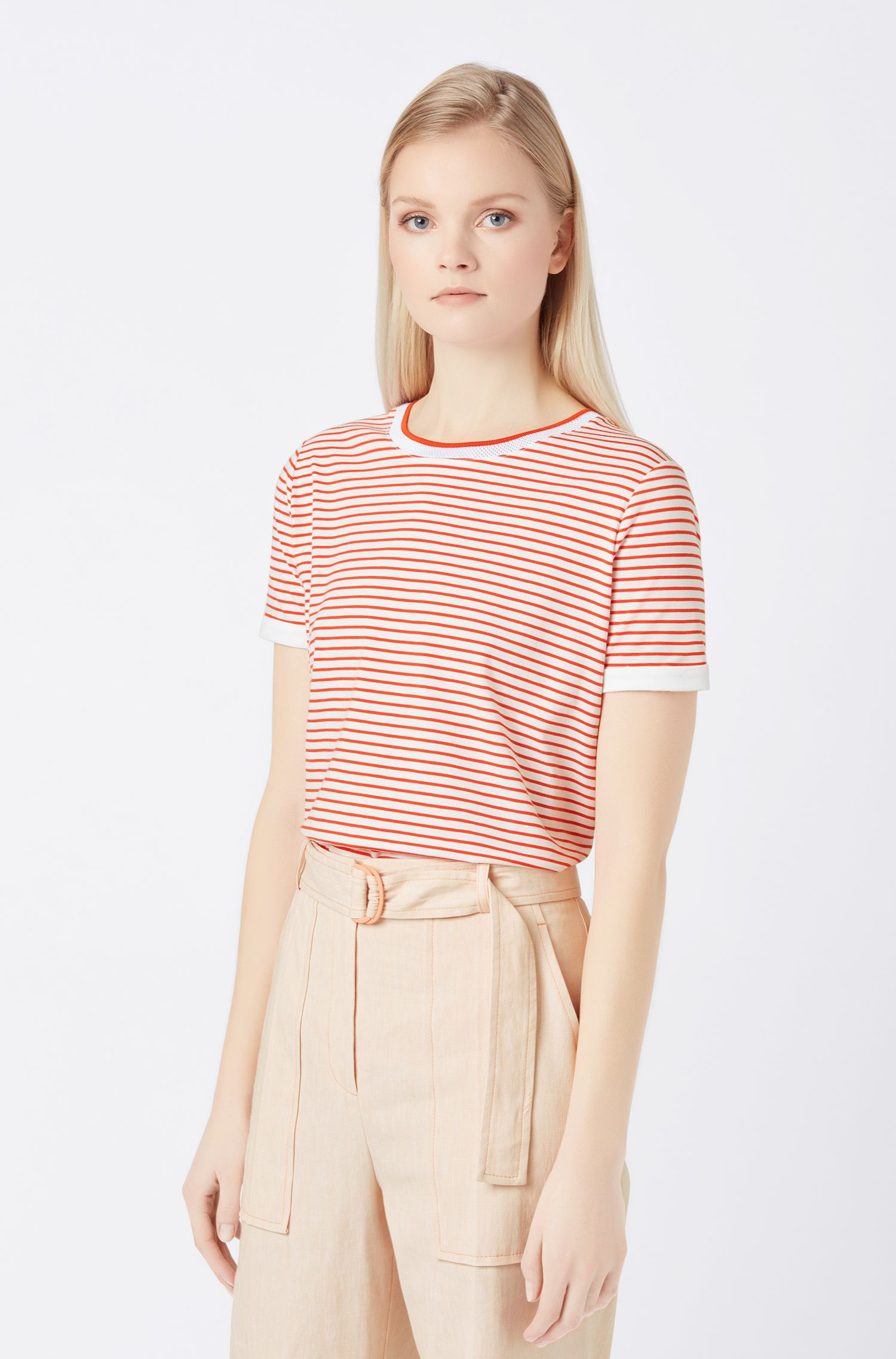 Striped T-shirt in stretch fabric with mesh neckline, Orange