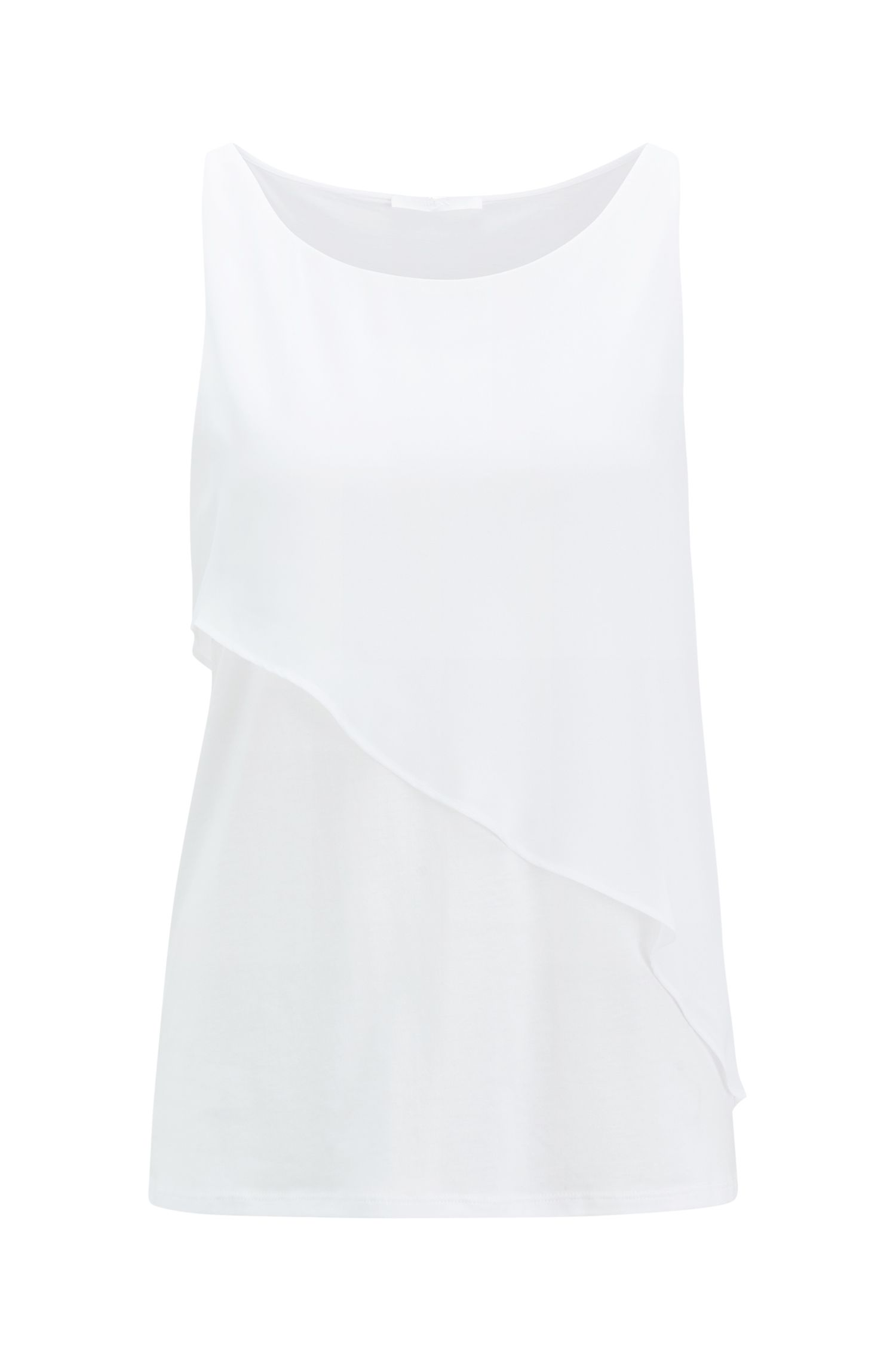 Double-layer top in technical fabric with asymmetric frill, Natural