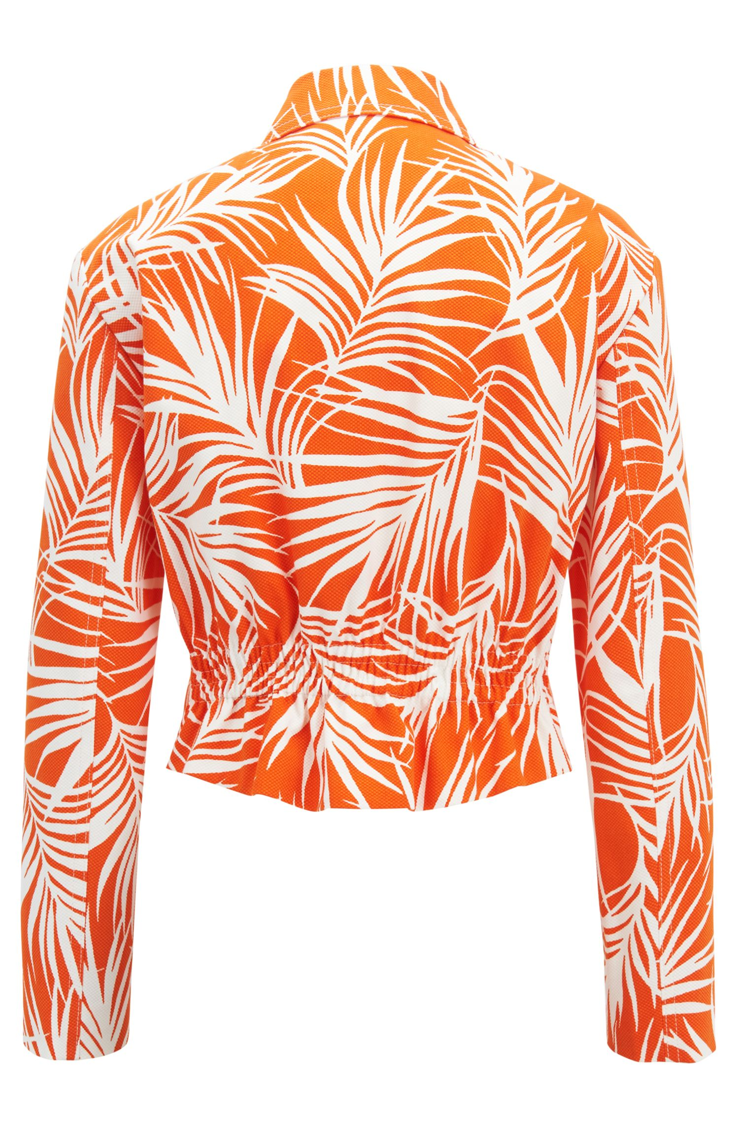 Cropped jacket in stretch cotton with palm-leaf print