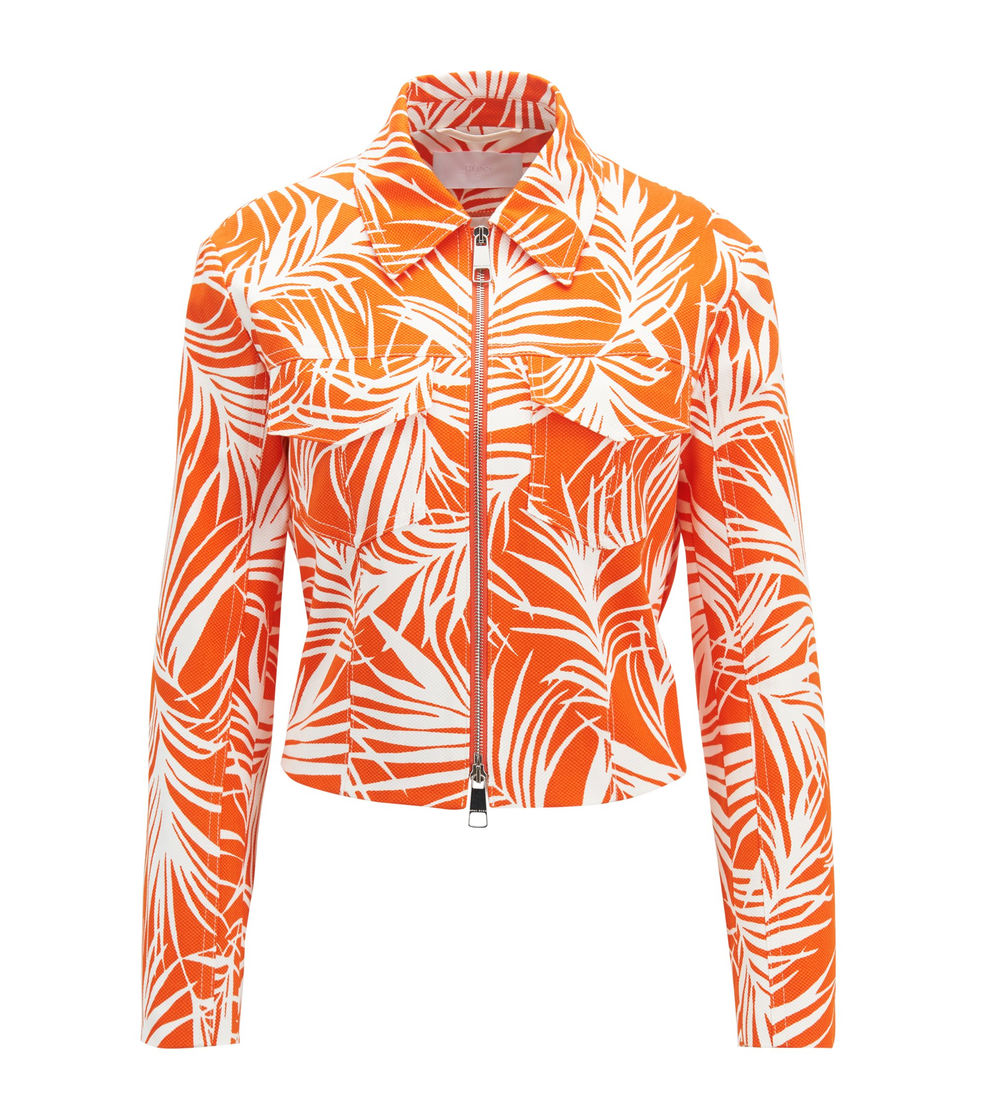 Cropped jacket in stretch cotton with palm-leaf print, Patterned
