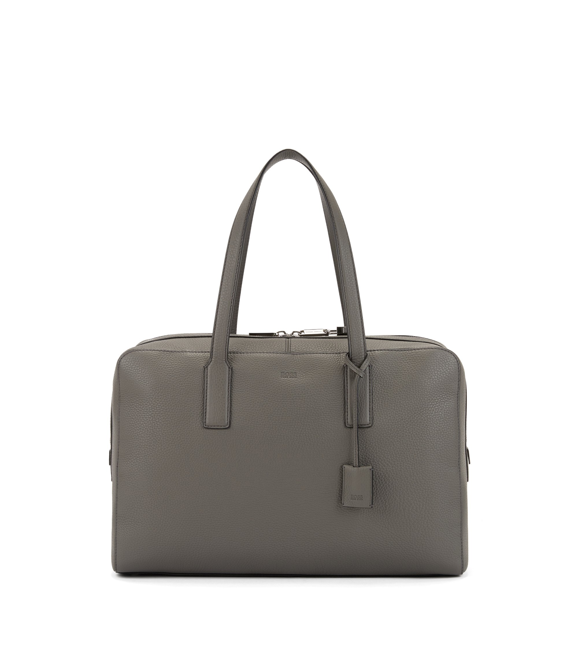 Holdall in grainy Italian leather with key lock, Grey