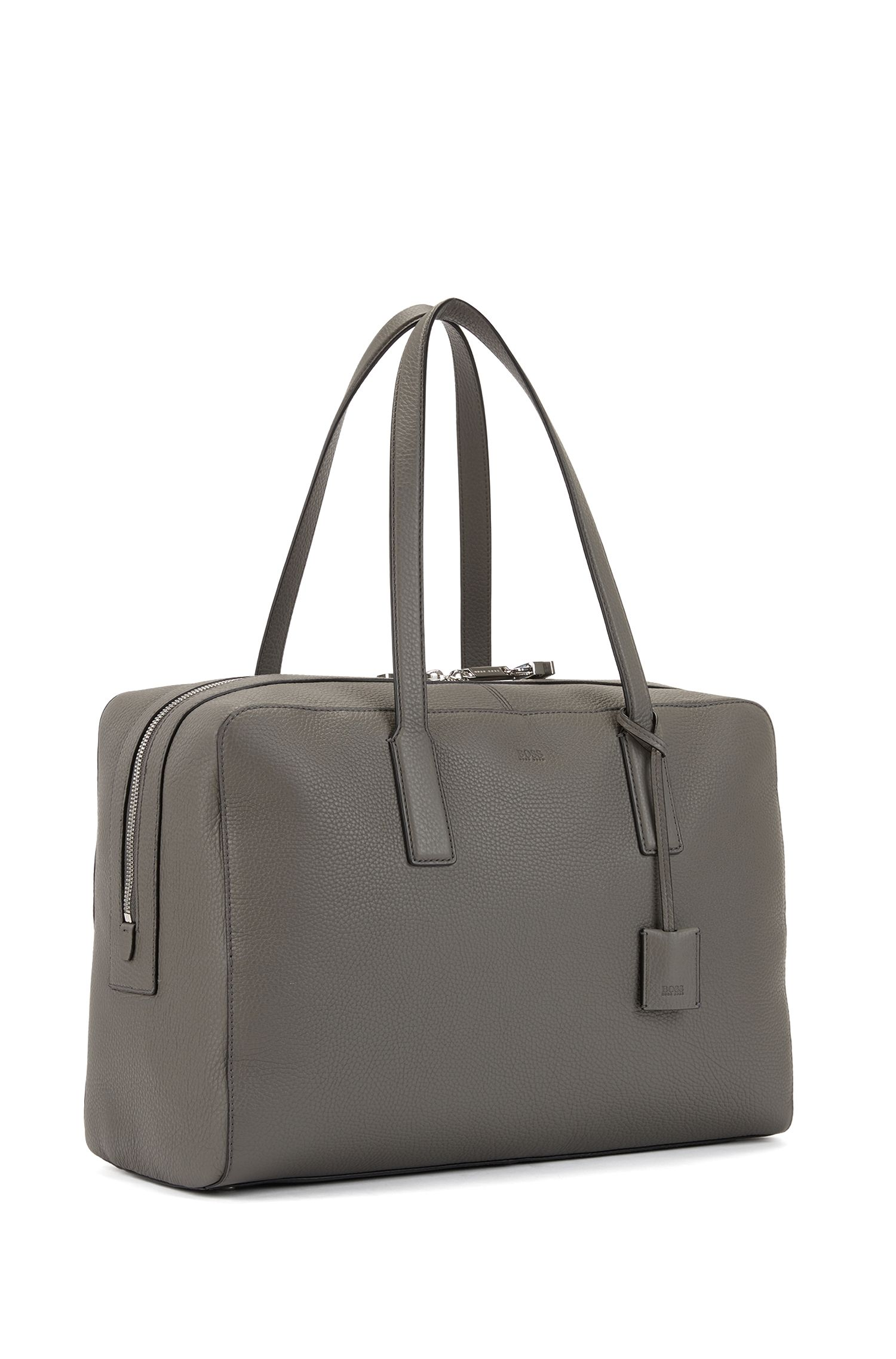 Holdall in grainy Italian leather with key lock