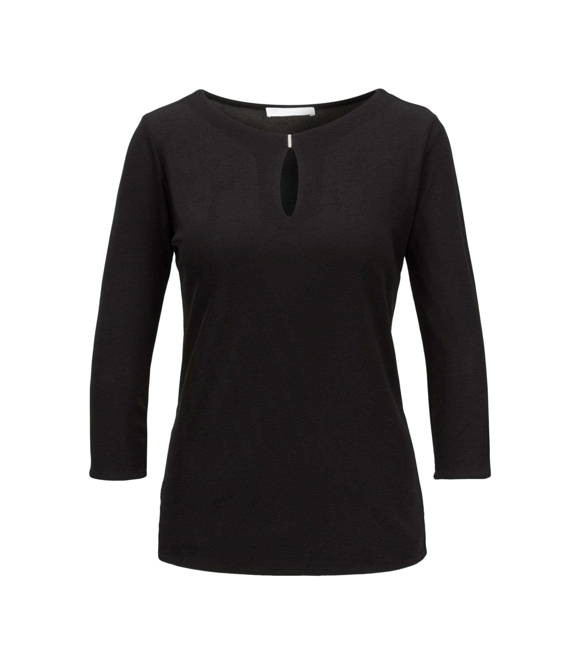 Keyhole-neck top in matt crepe jersey, Black