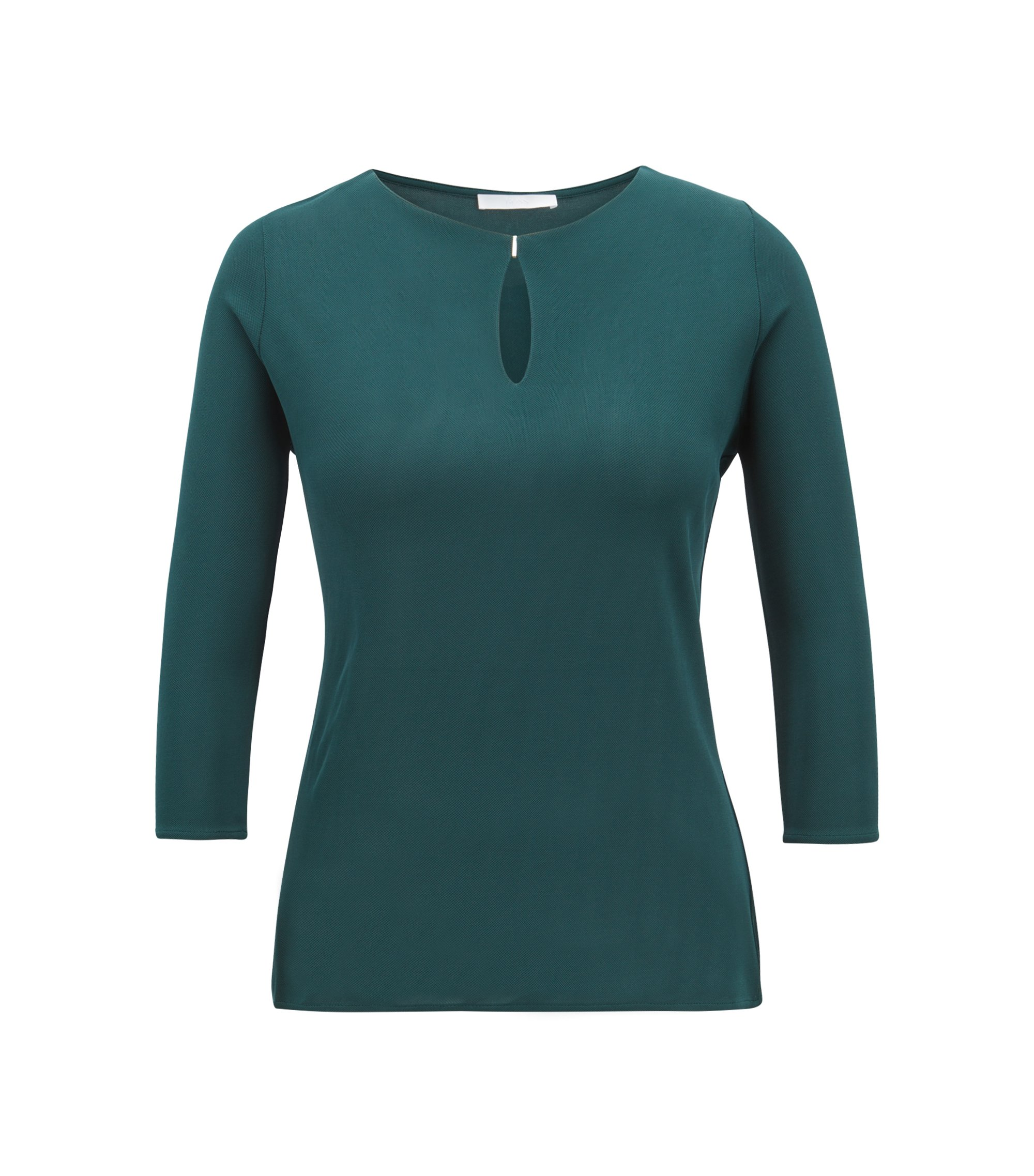 Keyhole-neck top in matt crepe jersey, Open Green