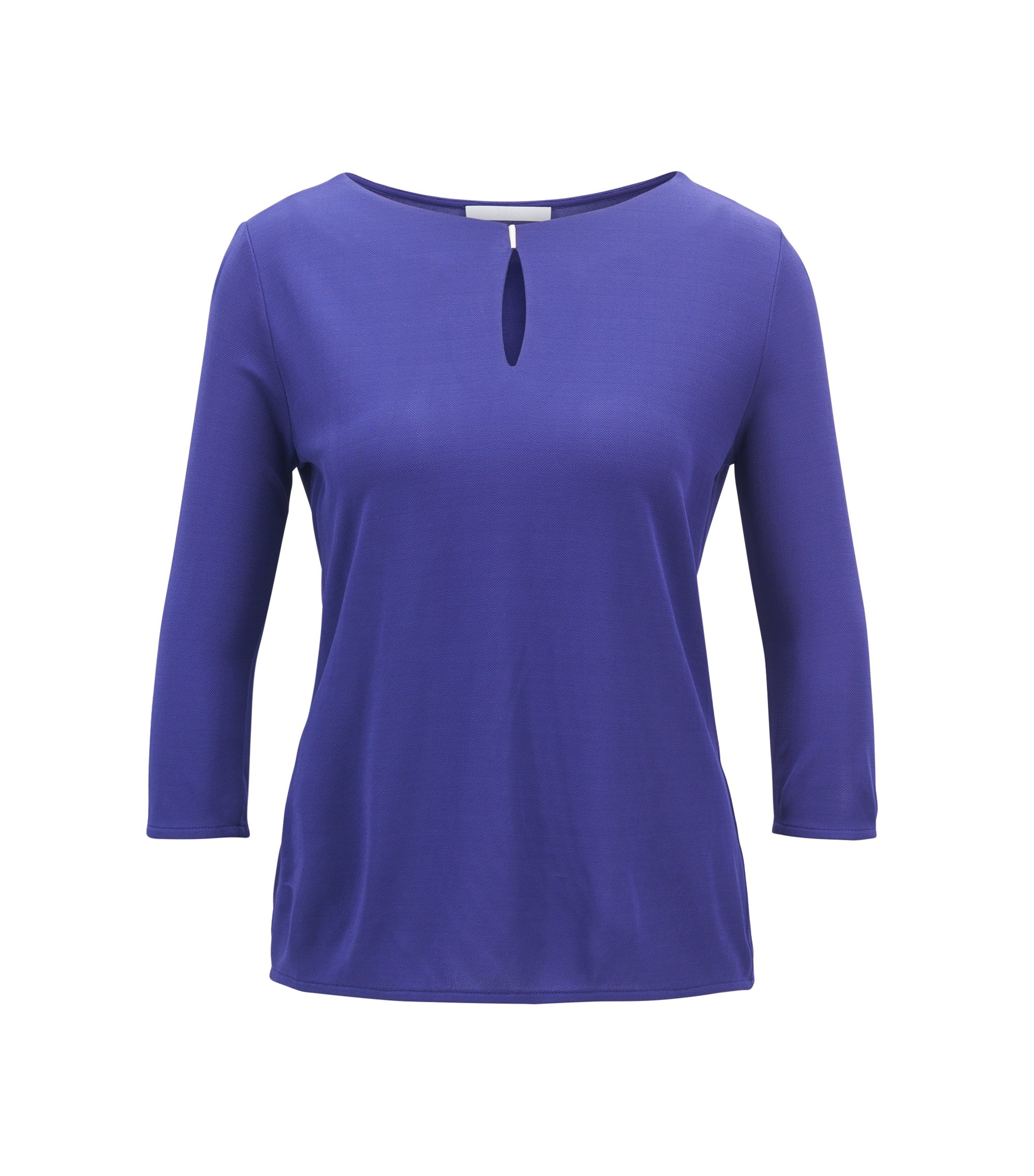 Keyhole-neck top in matt crepe jersey, Purple