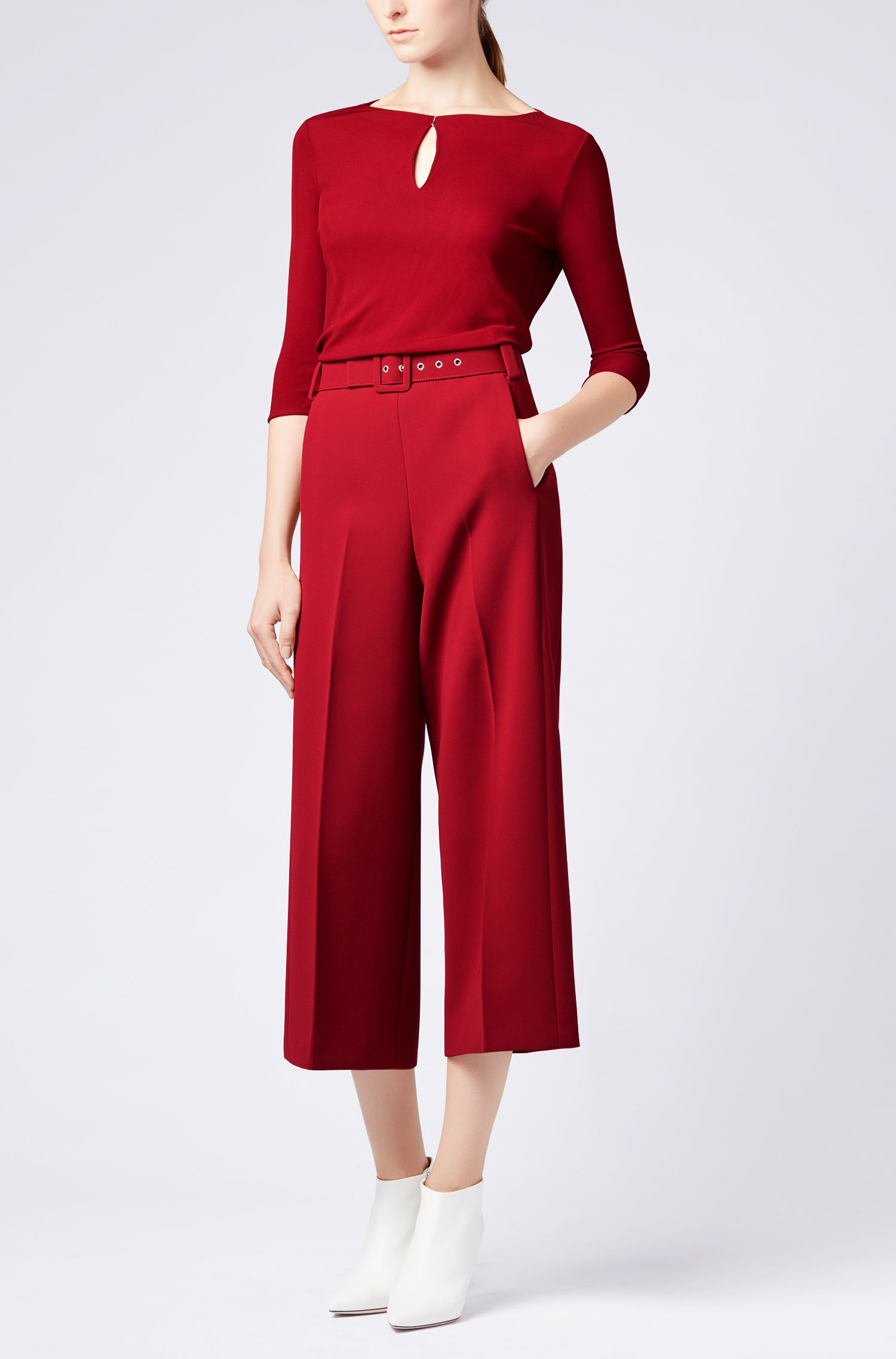 Keyhole-neck top in matt crepe jersey, Dark Red