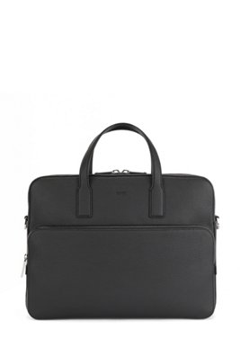 Document case in grained Italian leather, Black