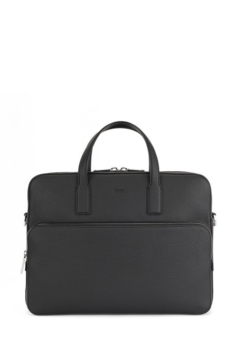 Single document case in grained Italian leather, Black