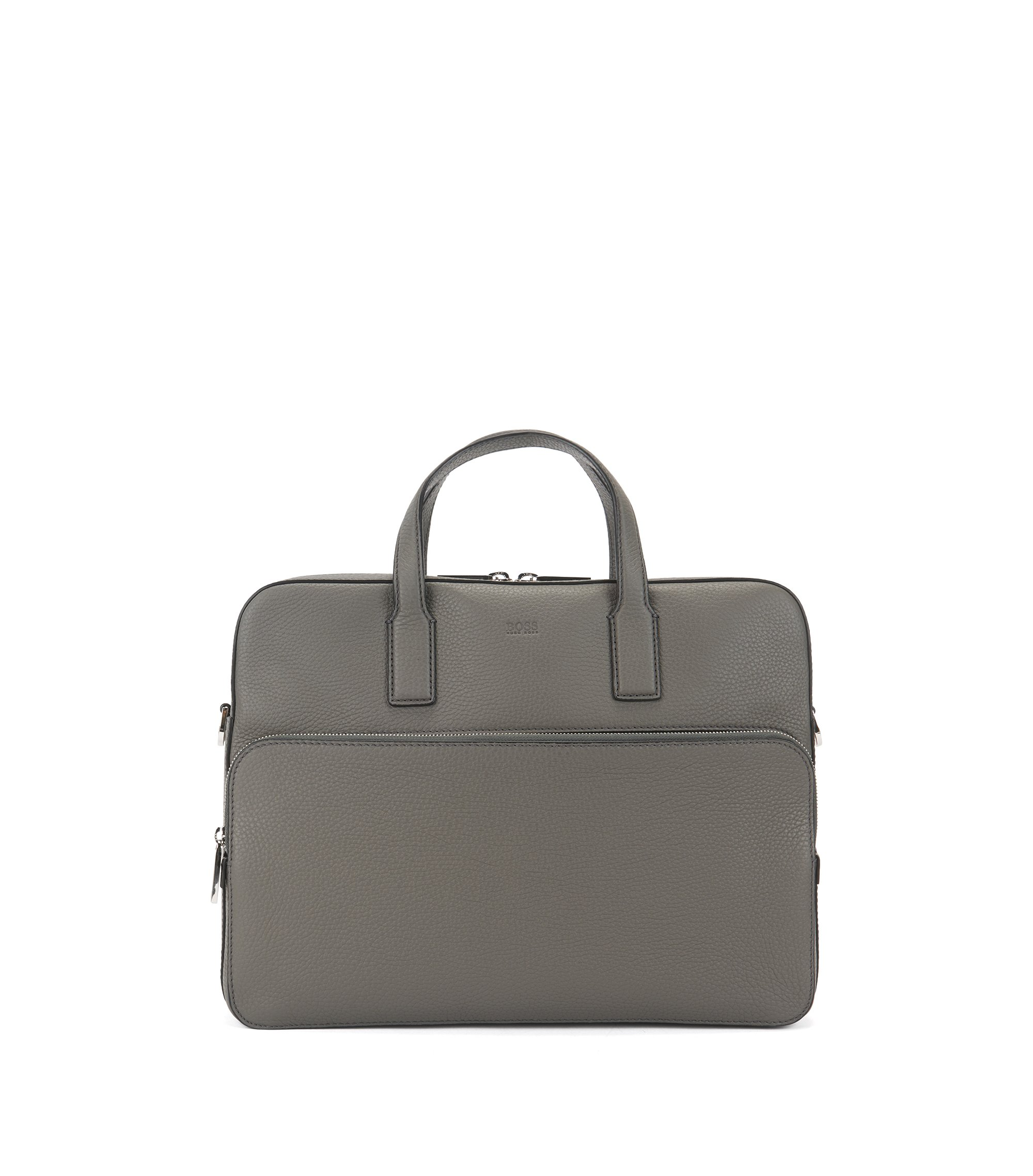 Single document case in grained Italian leather, Grey