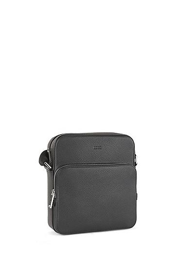 男士皮质记者包挎包,  001_黑色