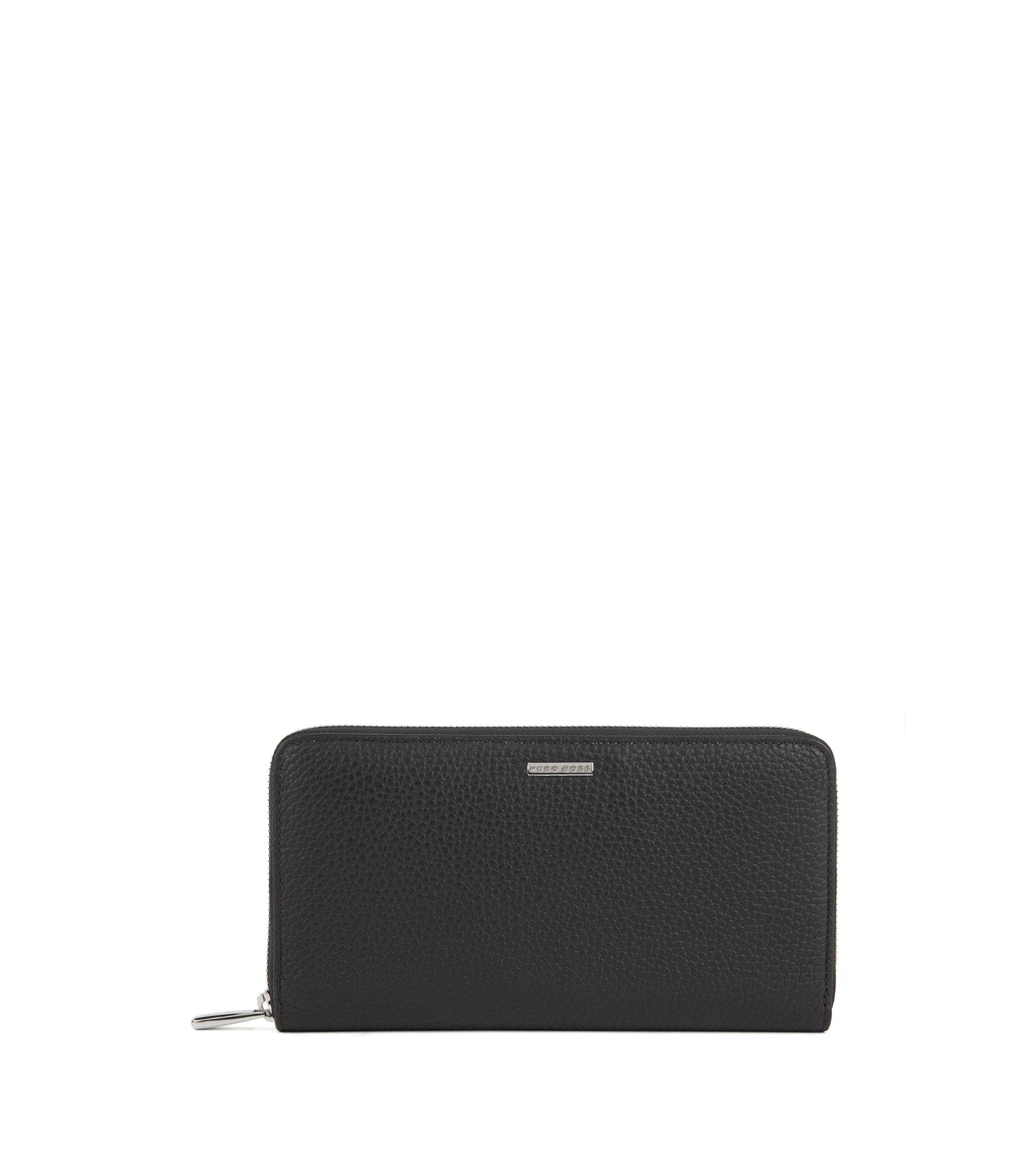 Reise-Geldbörse aus genarbtem italienischem Leder mit Reißverschluss, Schwarz