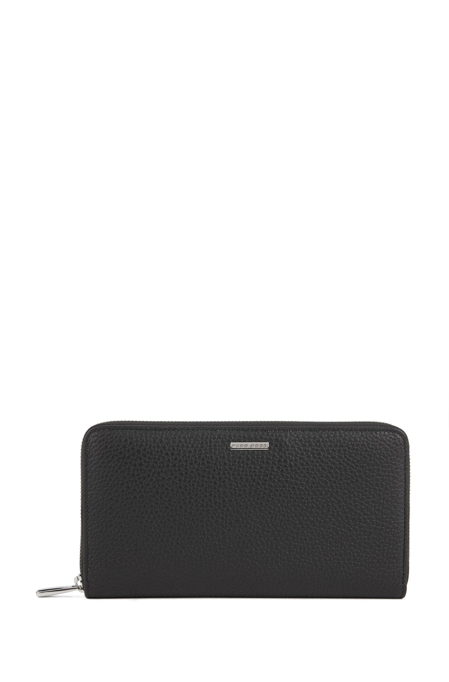 Zip-around travel wallet in grainy Italian leather, Black