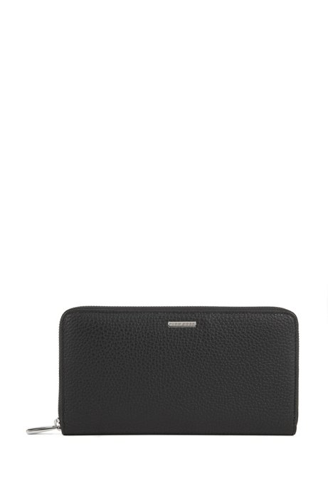 HUGO BOSS Zip-around travel wallet in grainy Italian leather With Credit Card Sale Online aUNBOVCAM
