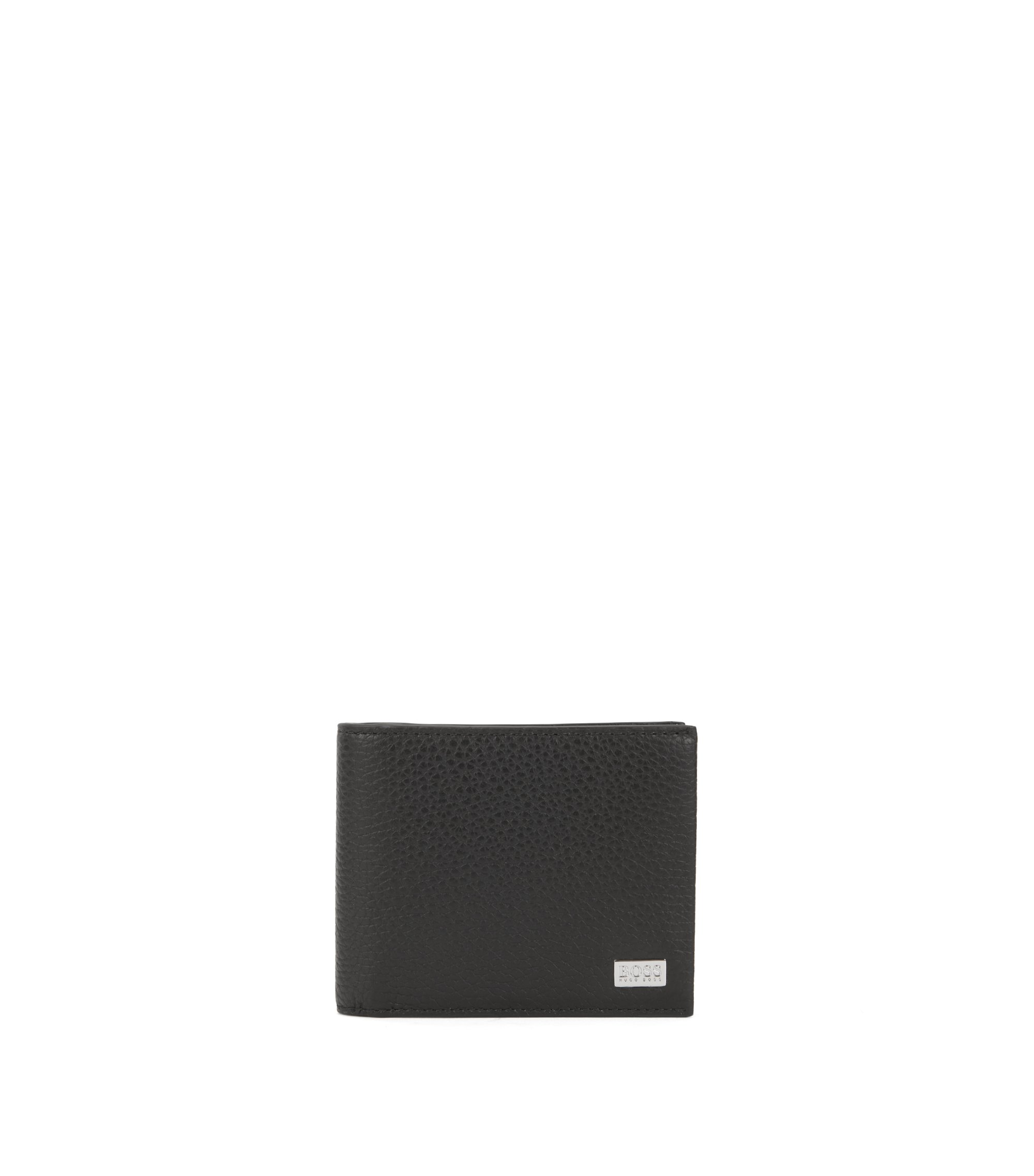 Trifold wallet in grained Italian leather, Black