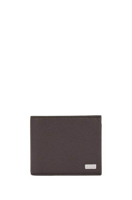Trifold wallet in grained Italian leather, Dark Brown