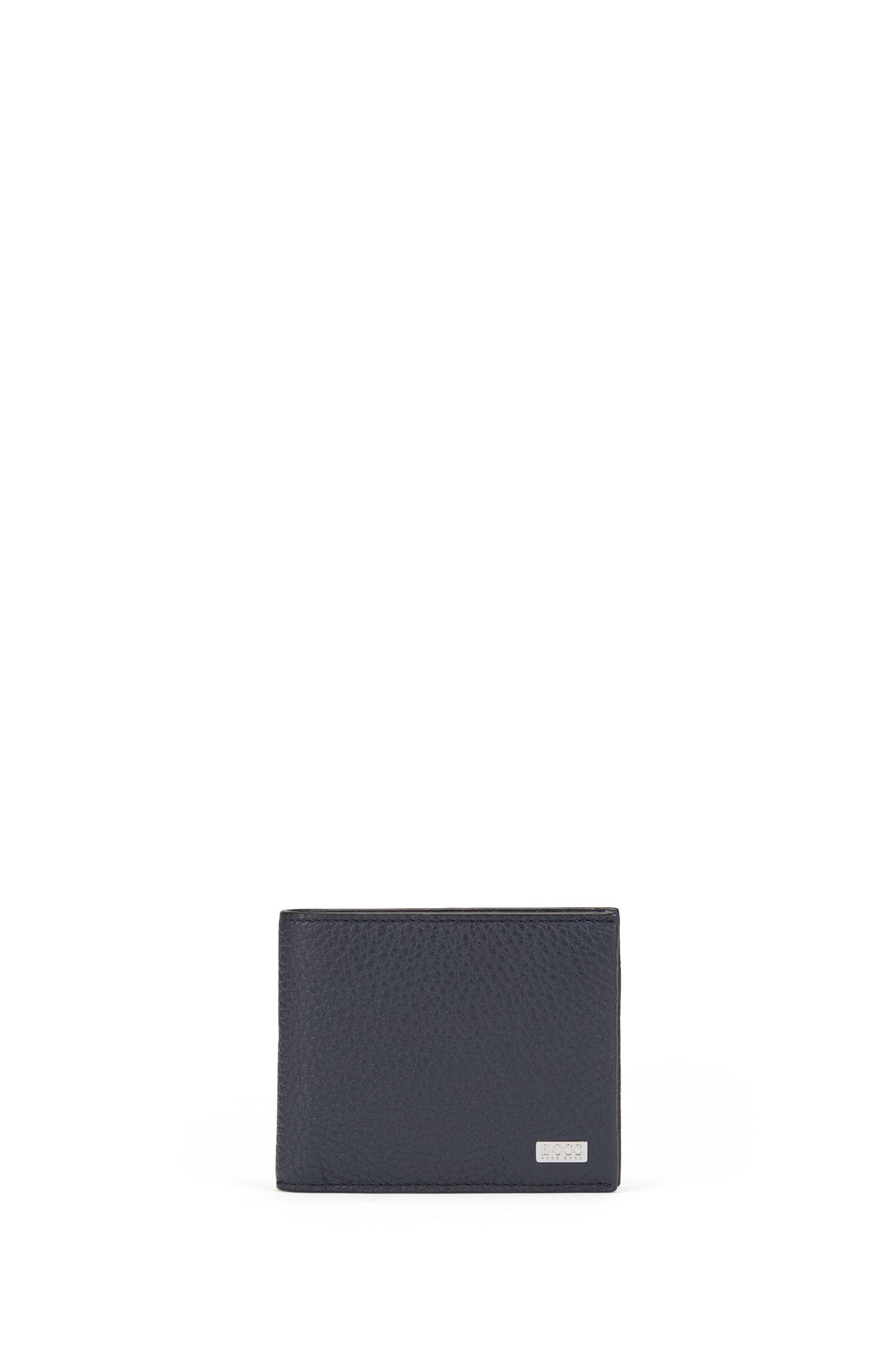 Openklapbare portemonnee van generfd Italiaans leer, Donkerblauw