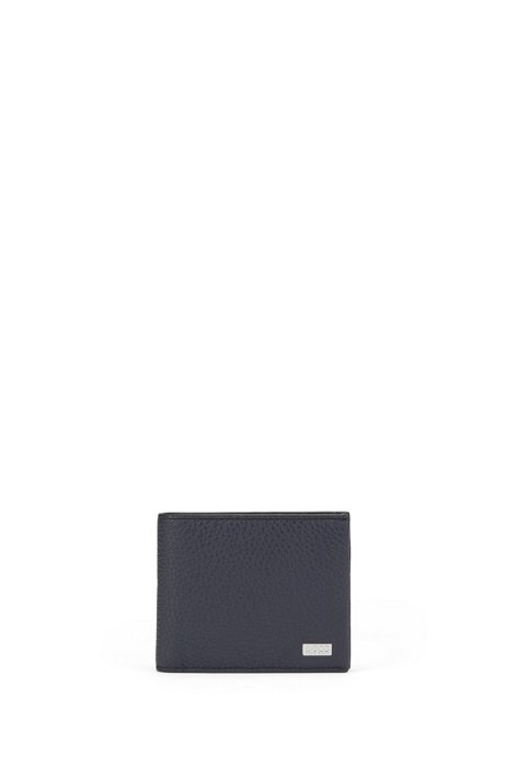 Trifold wallet in grained Italian leather, Dark Blue