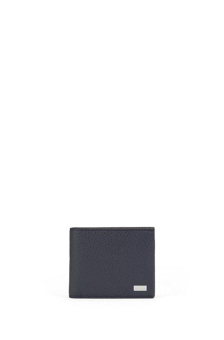 Cartera con 3pliegues en piel italiana con grano, Azul oscuro