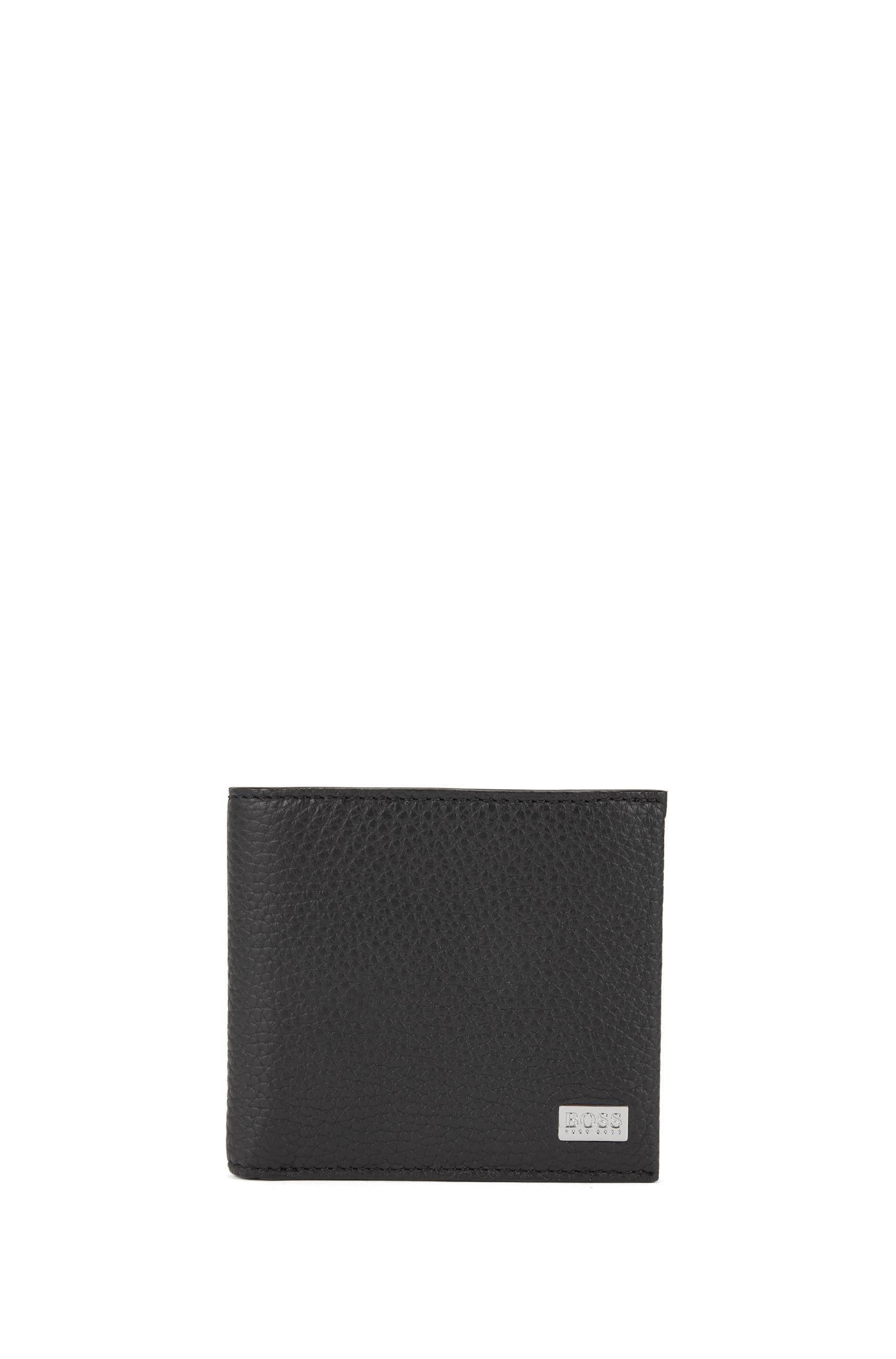 Portafoglio bi-fold con otto scomparti per carte in pelle martellata realizzata in Italia, Nero