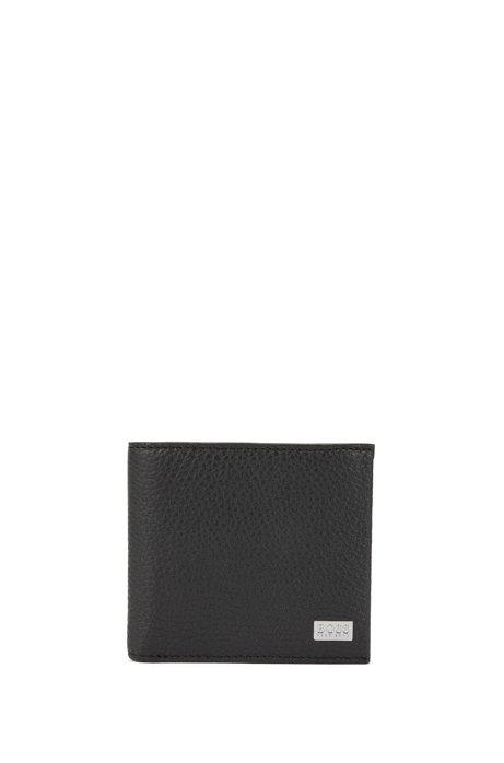 Eight-card billfold wallet in grained Italian leather, Black