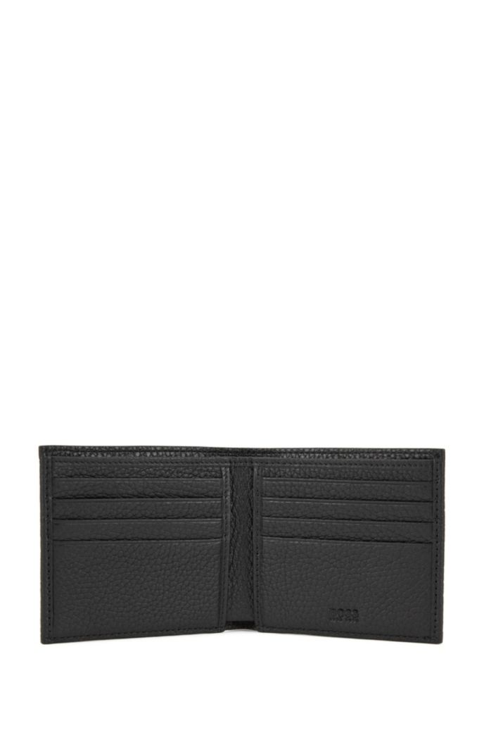 Eight-card billfold wallet in grained Italian leather