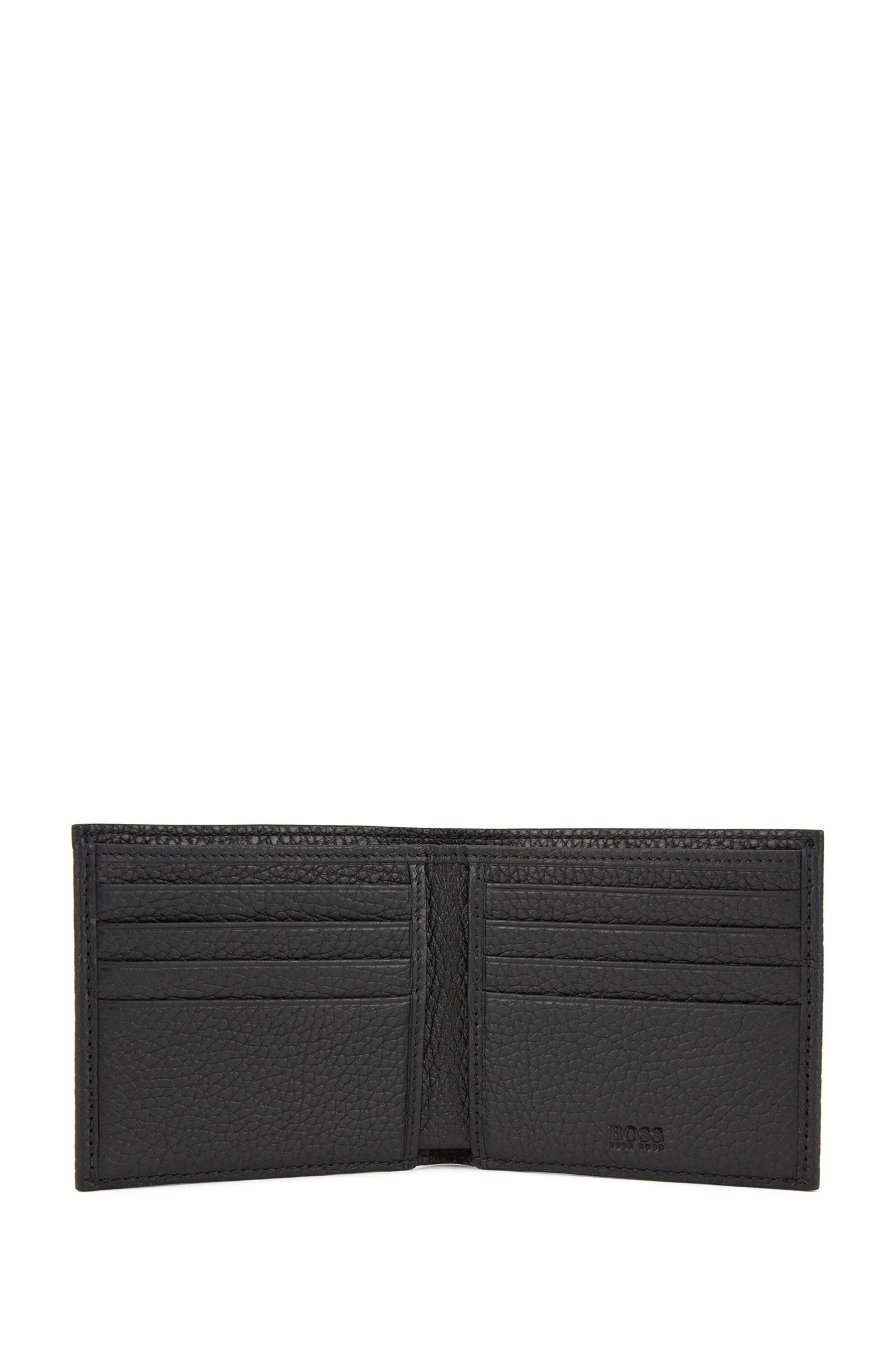 Eight-card billfold wallet in grained Italian leather