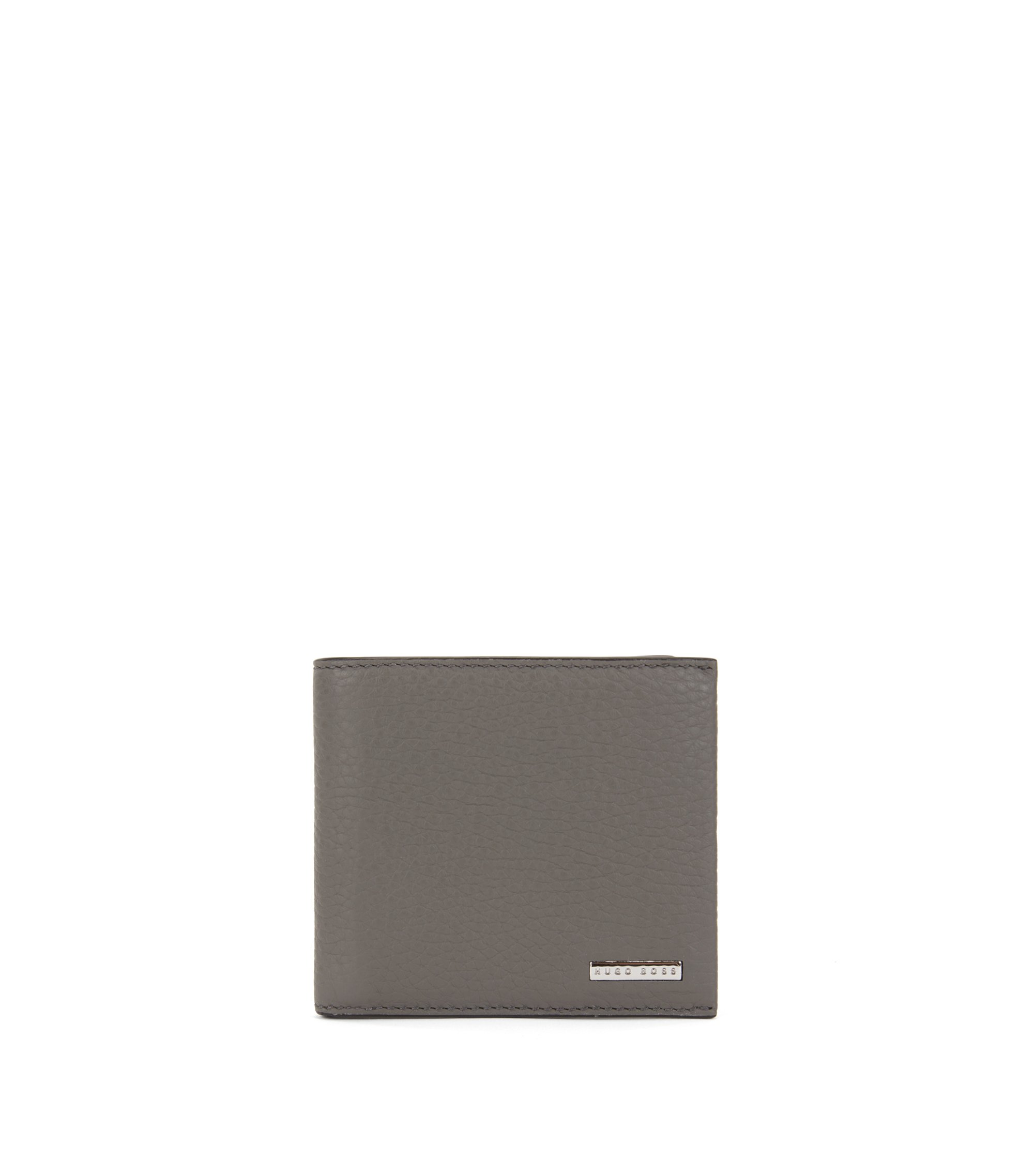 Eight-card billfold wallet in grained Italian leather, Grey