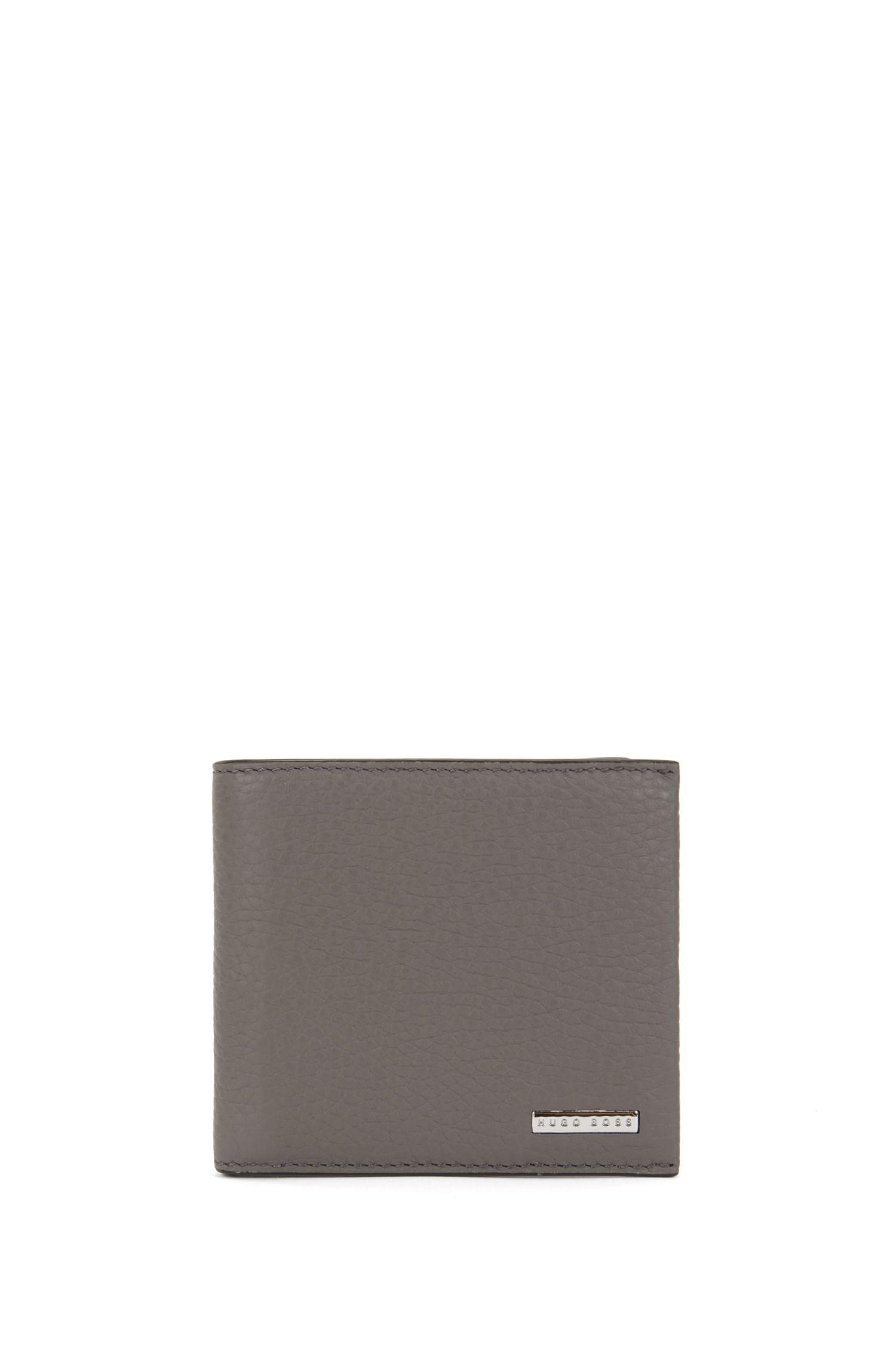 Eight-card billfold wallet in grained Italian leather, Grey