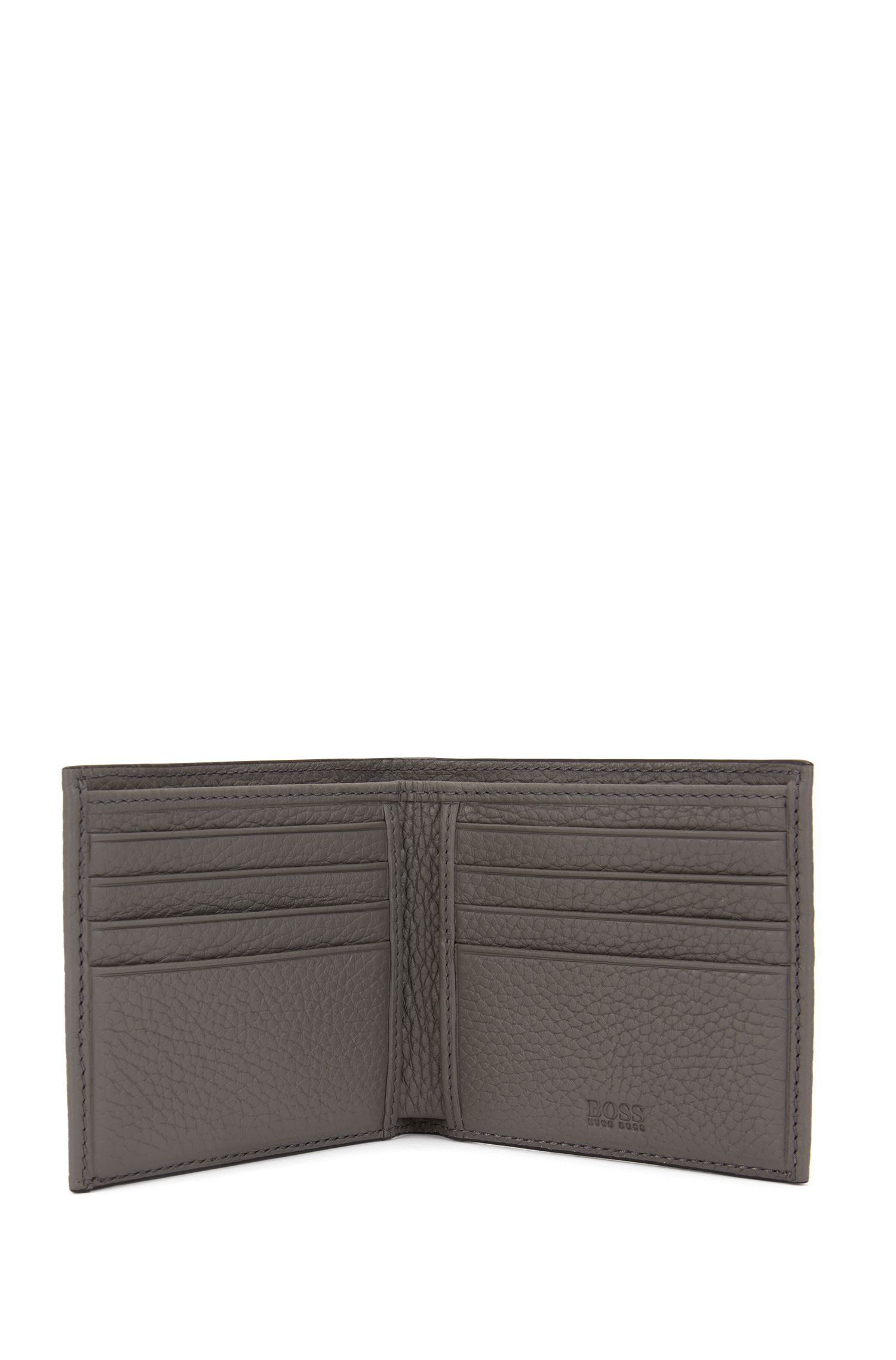 Portafoglio bi-fold con otto scomparti per carte in pelle martellata realizzata in Italia, Grigio
