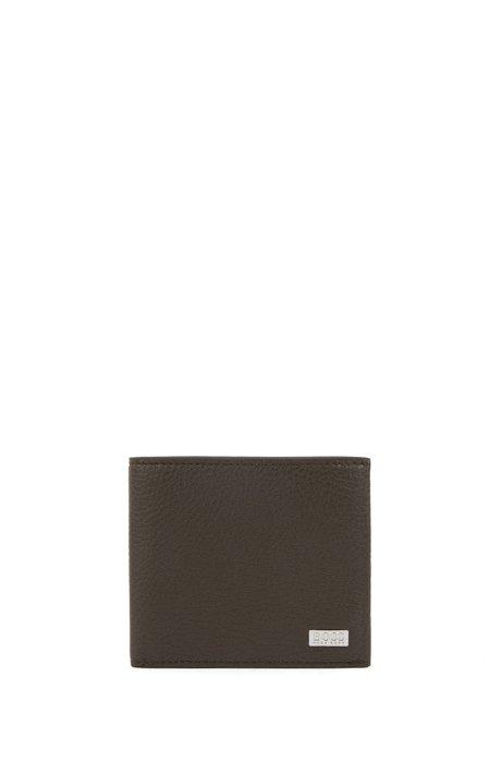Eight-card billfold wallet in grained Italian leather, Dark Green