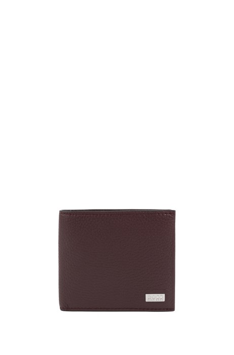 Eight-card billfold wallet in grained Italian leather, Dark Red