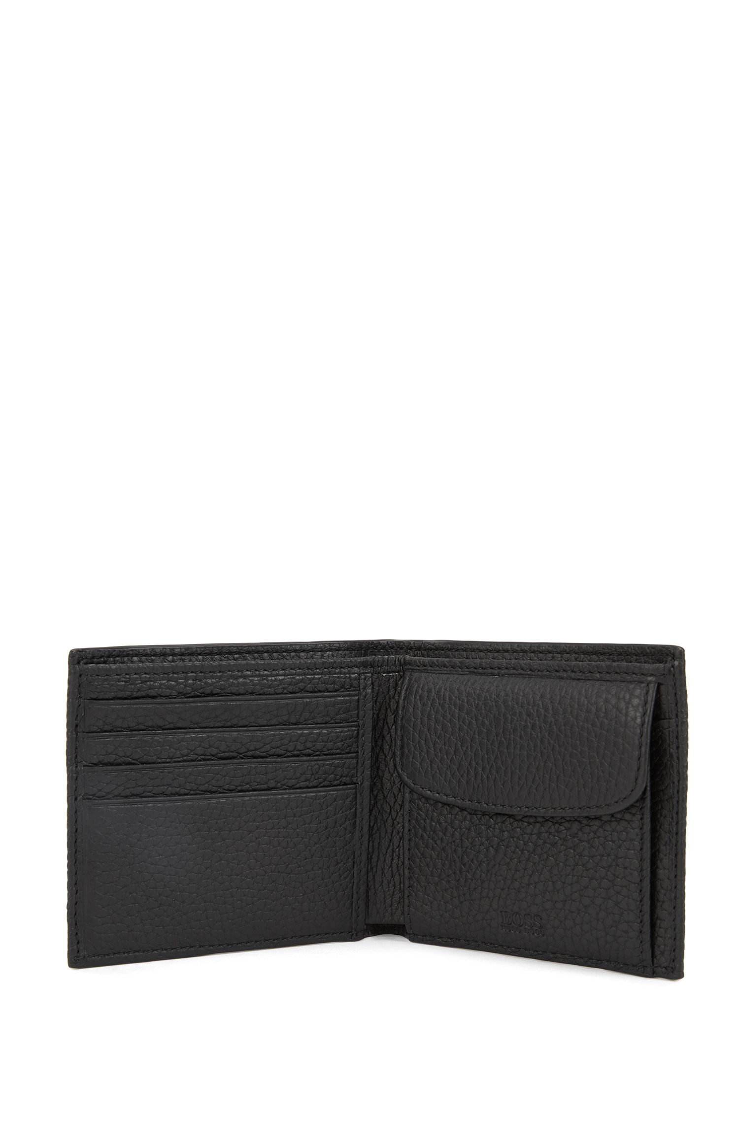 Italian-leather billfold wallet with large grain