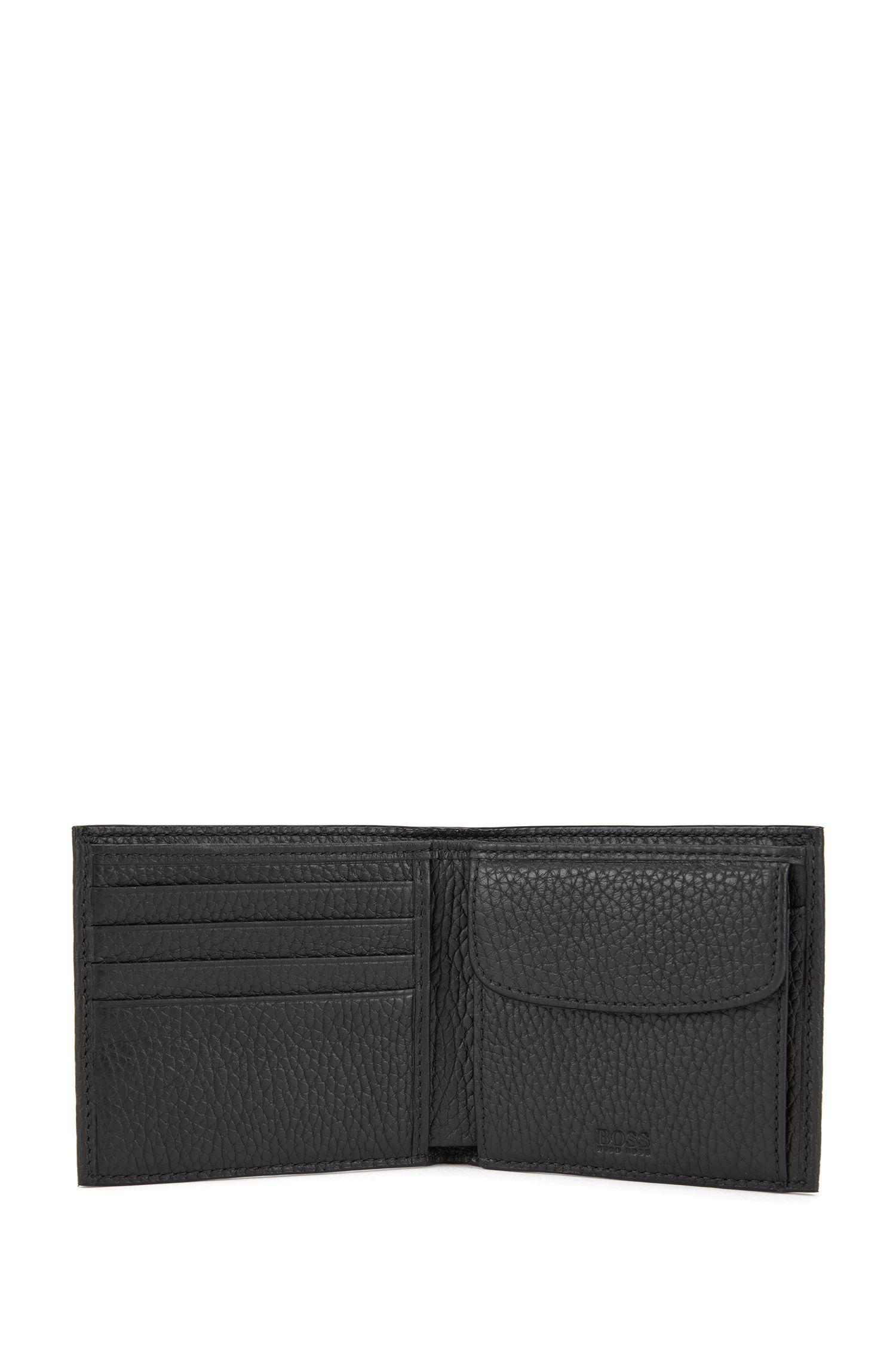 Klapp-Geldbörse aus grob genarbtem italienischem Leder, Schwarz
