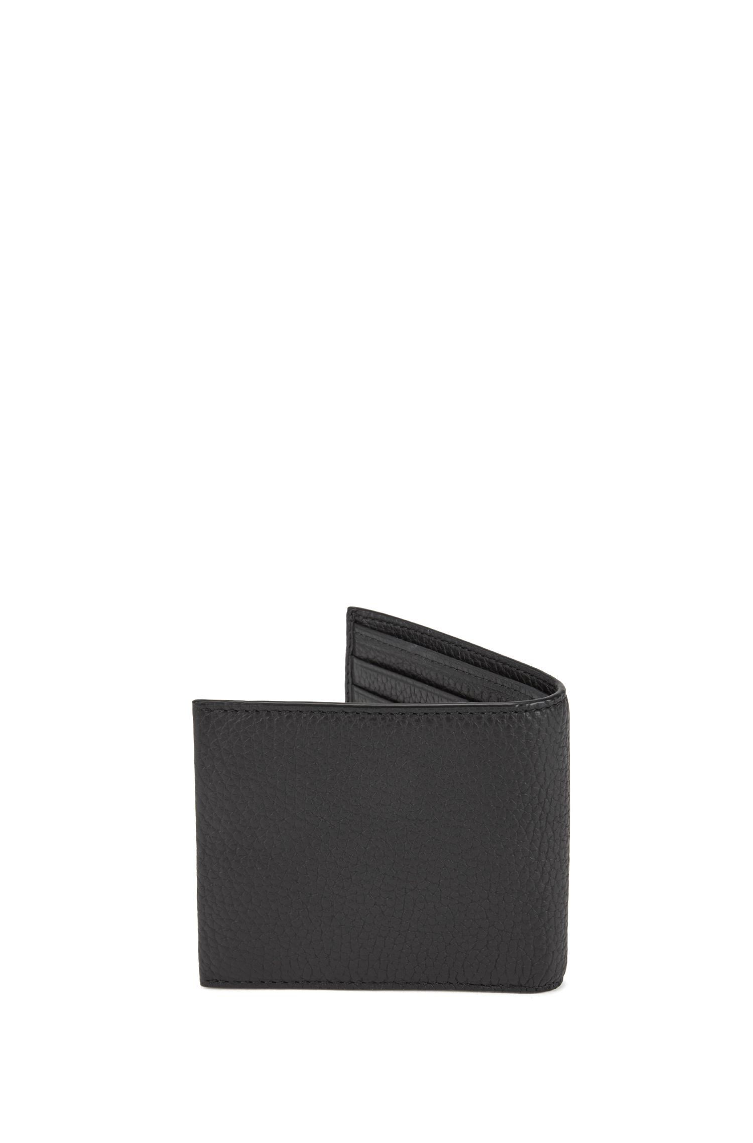 Italian-leather billfold wallet with large grain, Black