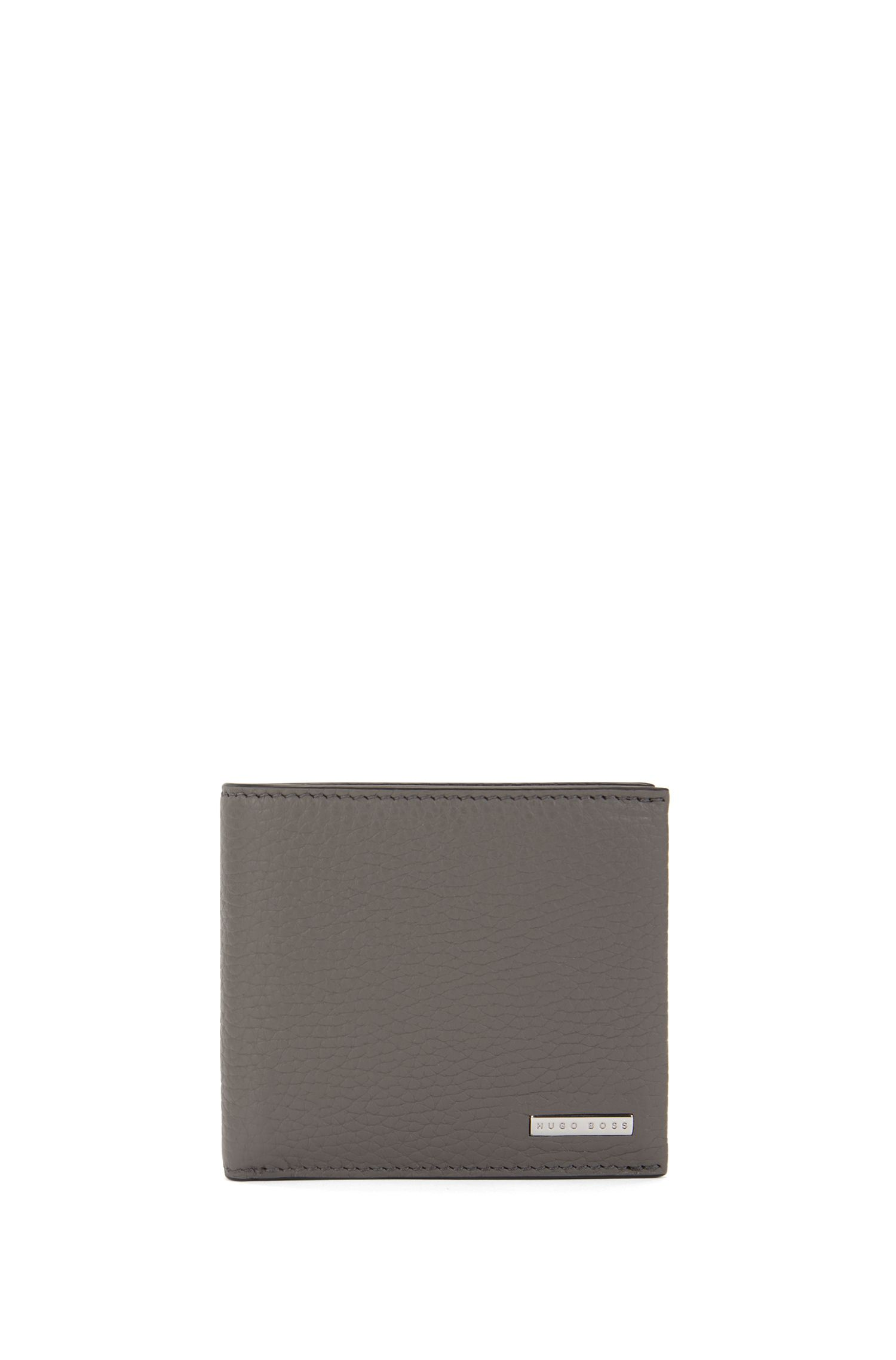 Portafoglio bi-fold in pelle a grana grossa realizzata in Italia, Grigio