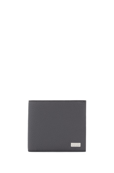 Italian-leather billfold wallet with large grain, Grey