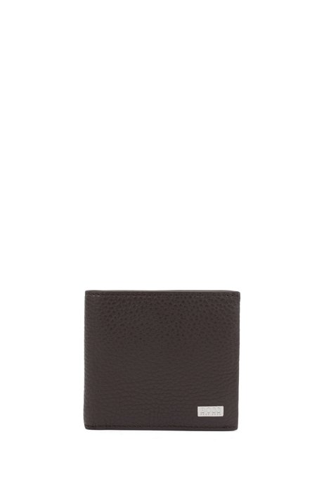 Italian-leather billfold wallet with large grain, Dark Brown
