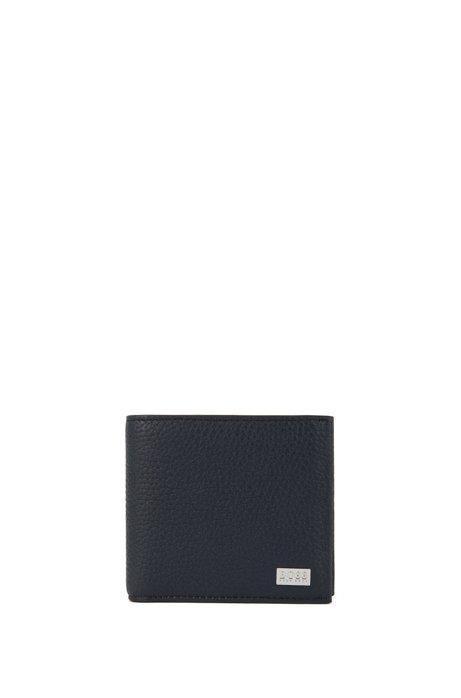 Klapp-Geldbörse aus grob genarbtem italienischem Leder, Dunkelblau