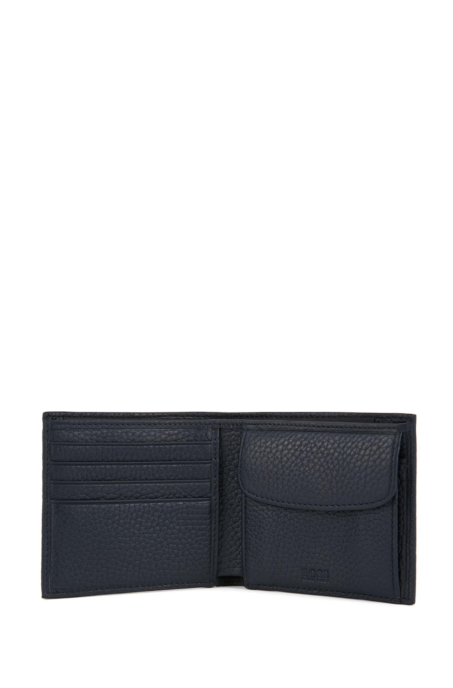 Italian-leather billfold wallet with large grain, Dark Blue