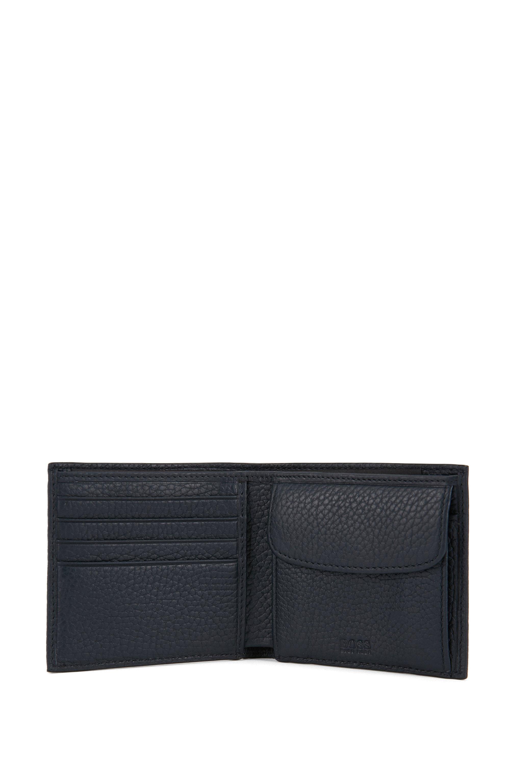 Italian-leather billfold wallet with large grain