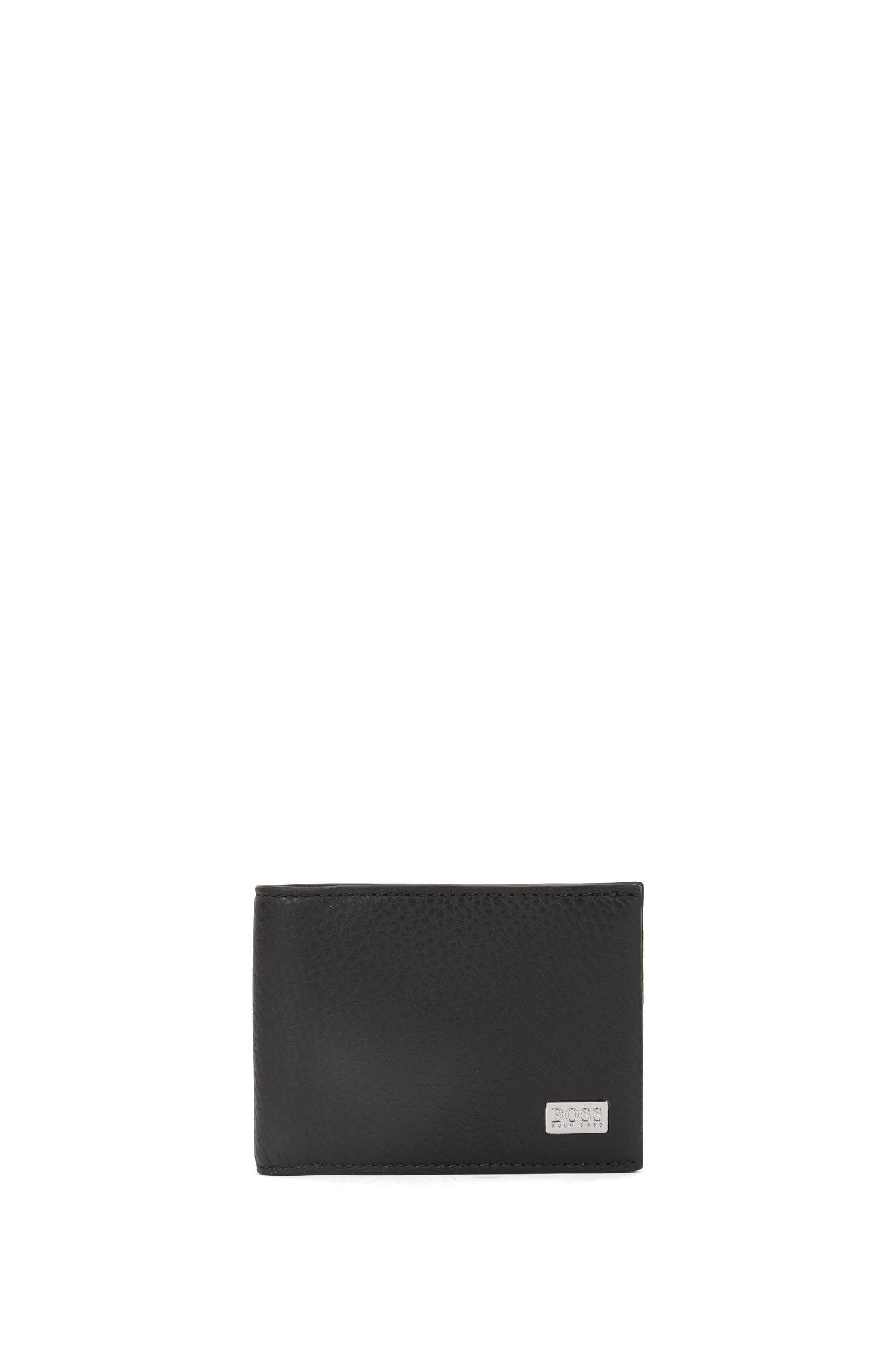 Klapp-Geldbörse aus genarbtem italienischem Leder, Schwarz