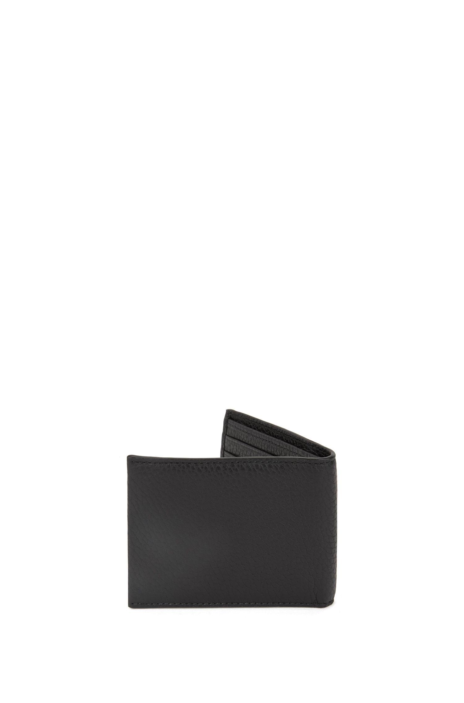 Portefeuille à deux volets en cuir italien grainé, Noir