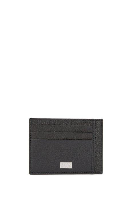 Kartenetui aus genarbtem italienischem Leder mit sechs Fächern, Schwarz