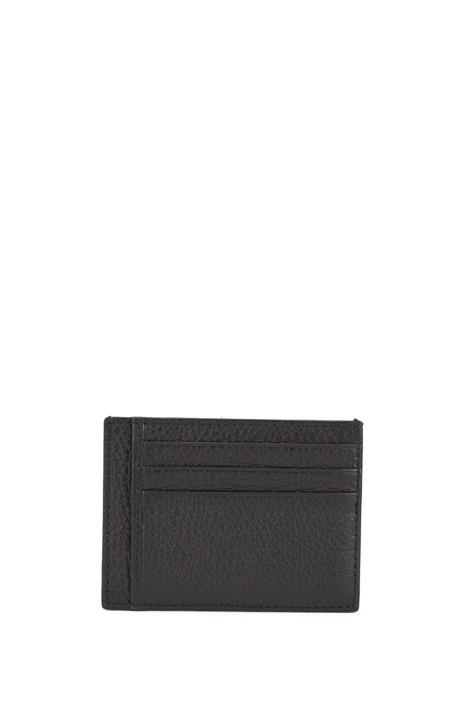 Six-slot card case in grained Italian leather, Black