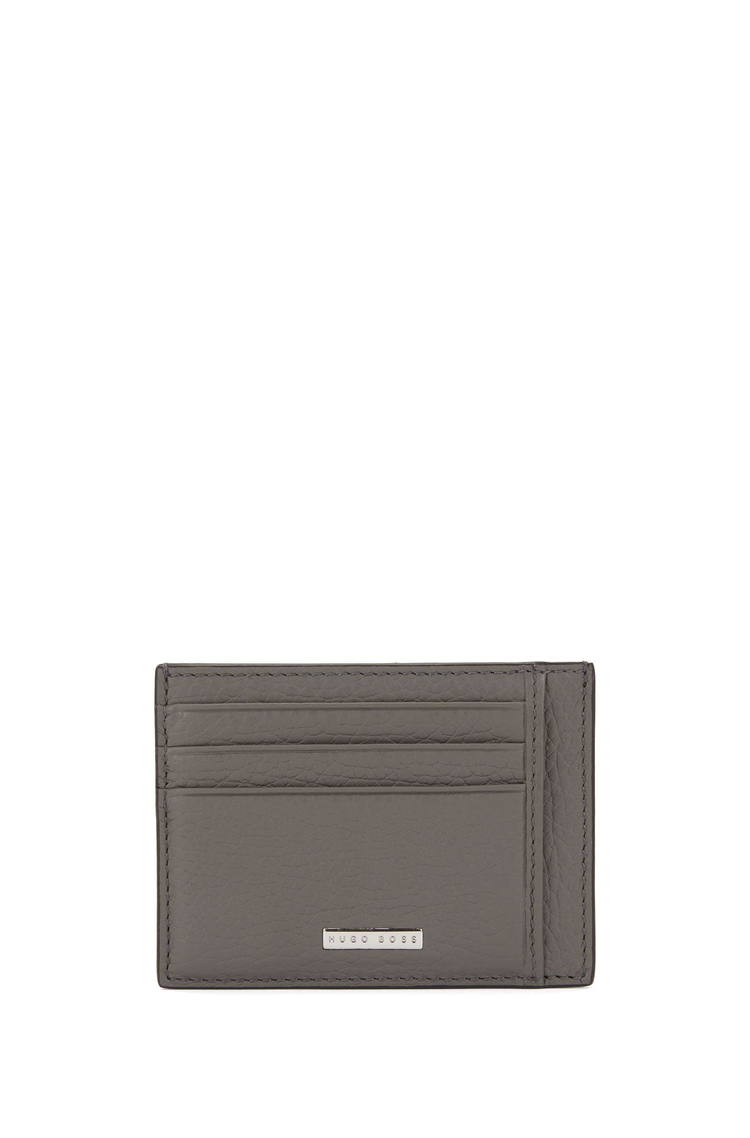 Six-slot card case in grained Italian leather, Grey