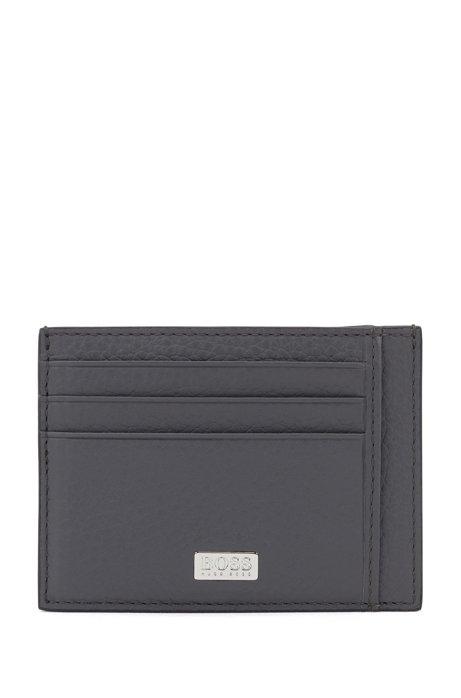 Kartenetui aus genarbtem italienischem Leder mit sechs Fächern, Grau